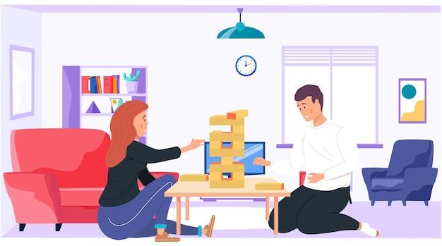 自宅でジェンガを遊んでいるカップル漫画イラスト