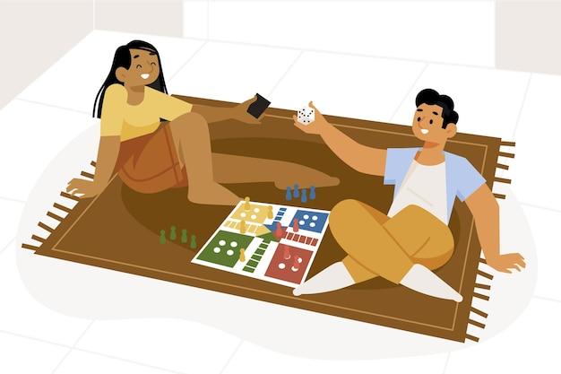 ルドーゲームをしているカップル