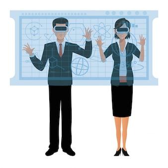 Пара играет очки виртуальной реальности 3d-графики