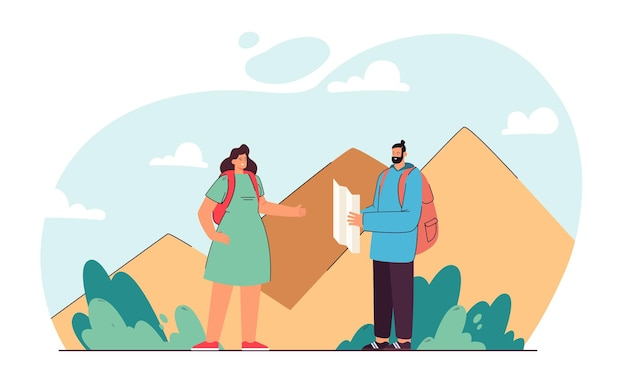 Couple plotting rout for hiking