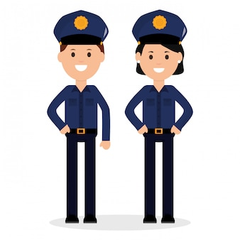 Couple police officers avatars characters