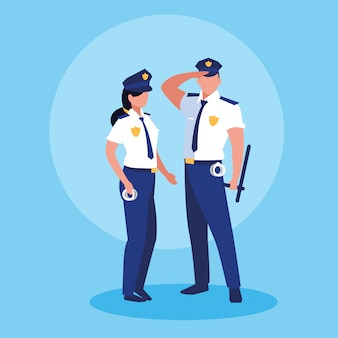 Couple of polices officers avatar character