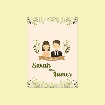 Couple portrait illustration save the date