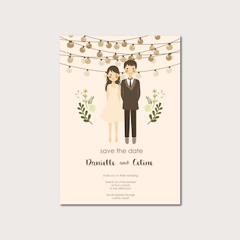 Couple portrait illustration wedding invitation save the date template