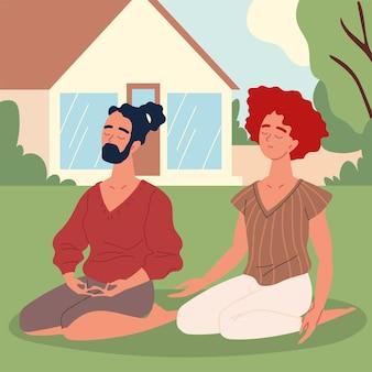 Couple practicing meditation