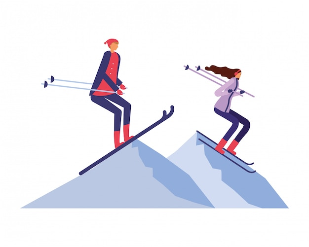 Couple practicing ski in the winter landscape