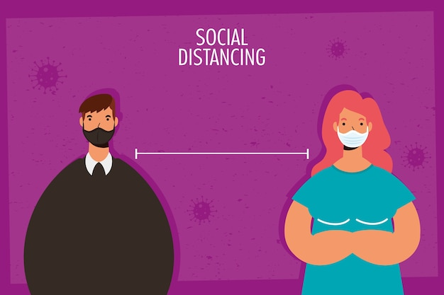 Пара, практикующая социальное дистанцирование персонажей