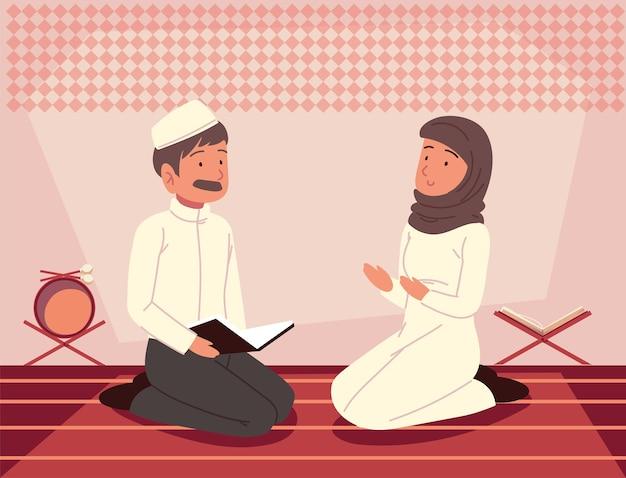 Couple prayer quran muslim culture