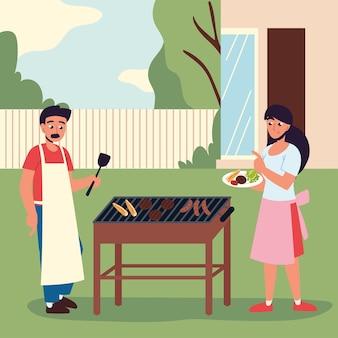 바베큐 음식을 준비하는 커플