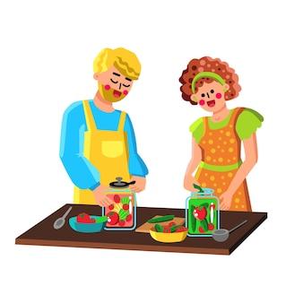 병 벡터에 야채를 보존하는 커플. 항아리에 마리네이드 신선한 영양을 보존 행복 웃는 남자와 여자 가족. 캐릭터 절임 보존 플랫 만화 일러스트 레이션