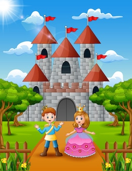 Couple princess and prince standing in front of the castle