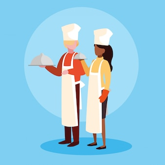 Couple of professionals chef avatar character