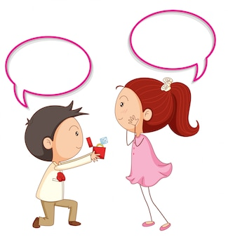 A couple propose with speech balloon