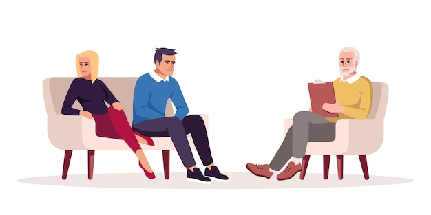 Couple psychotherapy session semi flat rgb color vector illustration. marriage counseling. marital conflict. psychologist appointment. relationship problems. isolated cartoon character on white