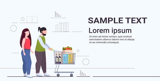 Couple pushing trolley cart with groceries overweight man woman shopping together obesity unhealthy lifestyle concept full length flat horizontal