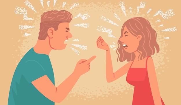 부부 싸움 남편과 아내 사이의 가족 갈등 화난 남자와 여자는 서로 소리