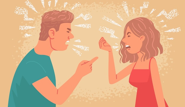 Couple quarrel family conflict between husband and wife angry man and woman shout at each other