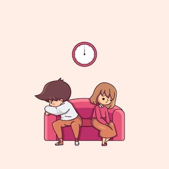 Couple quarrel on the sofa character illustration