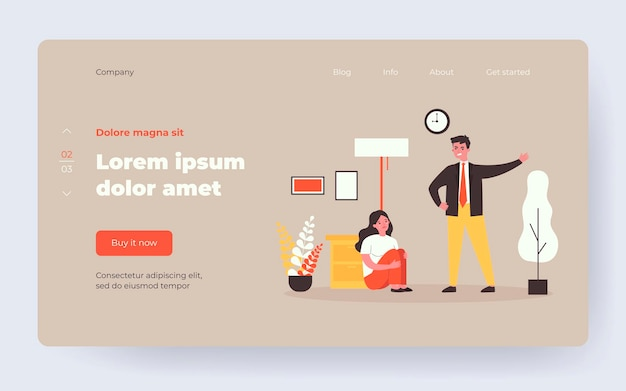 Couple quarreling with each other at home. angry man asking crying woman to leave him, pointing at door flat vector illustration. conflict, abuse concept for banner, website design or landing web page