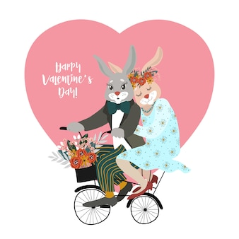 A couple of rabbits in love on a bicycle with a bouquet of flowers against the background of a big heart