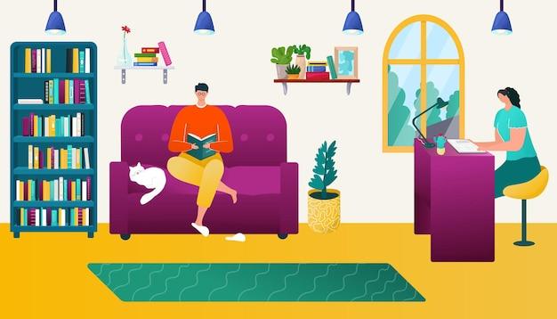 부부는 집 벡터 일러스트 레이 션에서 책을 읽고 평면 여자 남자 캐릭터는 방 인테리어에 함께 앉아 ...