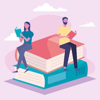 Пара читателей, читающих книги, сидящих в книжных персонажах, дизайн иллюстрации