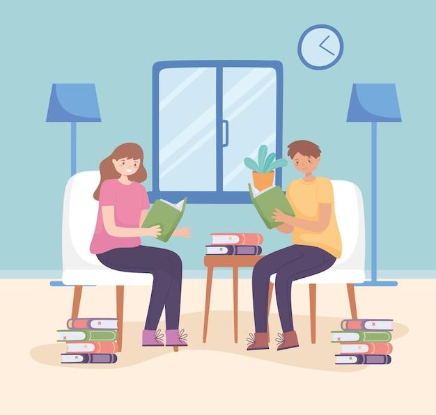 Пара, читающая книги