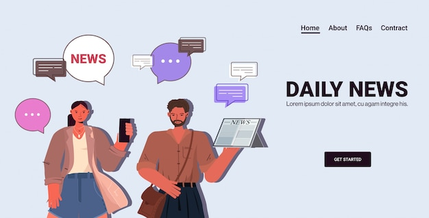 Couple reading and discussing daily news chat bubble communication press mass media concept. man woman using digital gadgets portrait horizontal copy space illustration