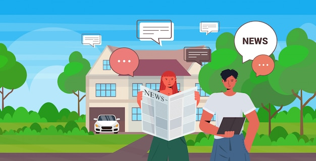 Couple reading and discussing daily news during meeting chat bubble communication concept man woman walking outdoor portrait horizontal illustration