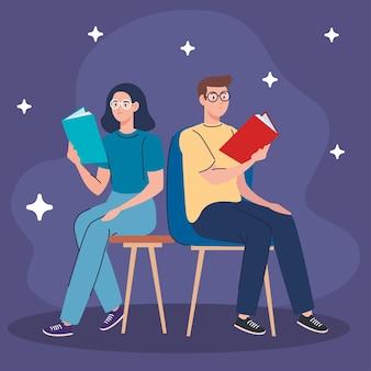 Пара, читающая учебники, сидя в стульях персонажей