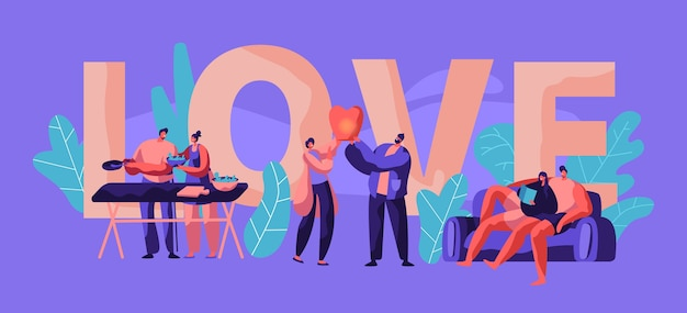 Couple relax at weekend typography banner. man and woman cook salad for picnic poster design. human character launch sky lantern in park lying on sofa. flat cartoon vector illustration