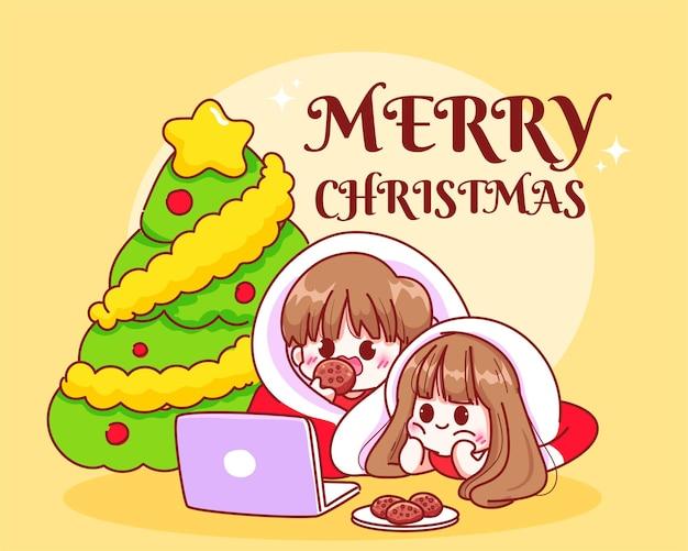 Пара, расслабляющаяся под елкой на рождественских праздниках, рисованная мультяшная иллюстрация