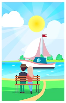 Couple relaxing on wooden bench in public park and watching floating yacht under shing summer sun