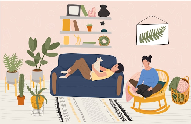 Couple rest at home, people relax in cozy apartment, illustration