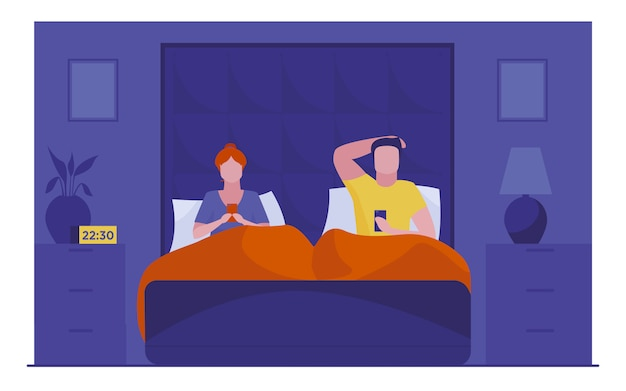 Couple resting in bed and using smartphones