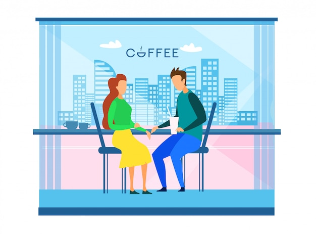 Couple resting at cafe in modern smart city vector
