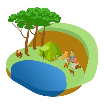 Couple resting in the forest by the lake with dog, tourism isometric  concept