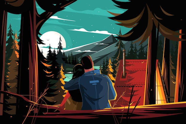 Couple resting in pine forest vector illustration people in love sit hugging and looking at moon