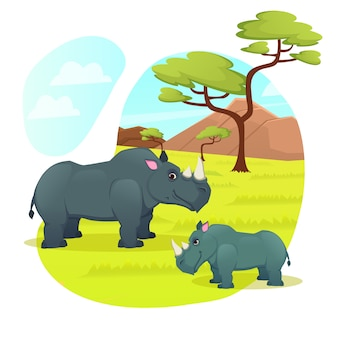 Couple of rhinoceros mother and little baby relax