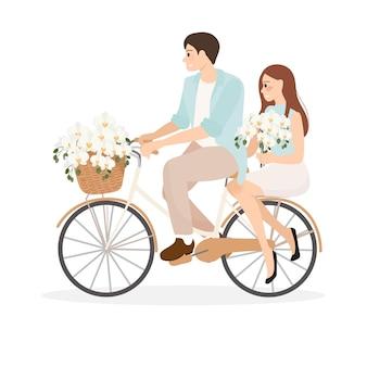 ファレノプシス蘭の花束と自転車に乗るカップル
