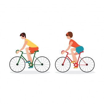 Couple riding bicycles isolated on white background.