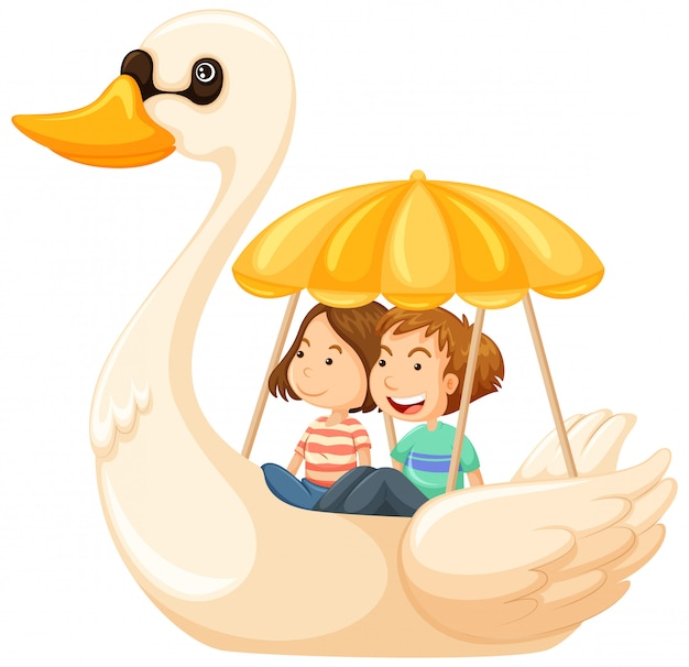 Couple riding duck pedal boat