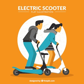 Couple riding electric scooter