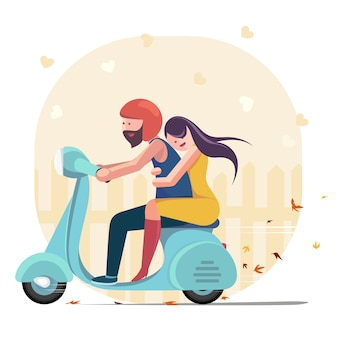 Couple riding a motorbike vector illustration