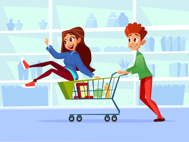 Couple riding supermarket shopping cart.
