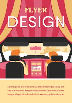 Couple riding vehicle. back view of driver and passenger inside car interior. view from backseat. illustration for driving, transportation, automobile, traffic concept