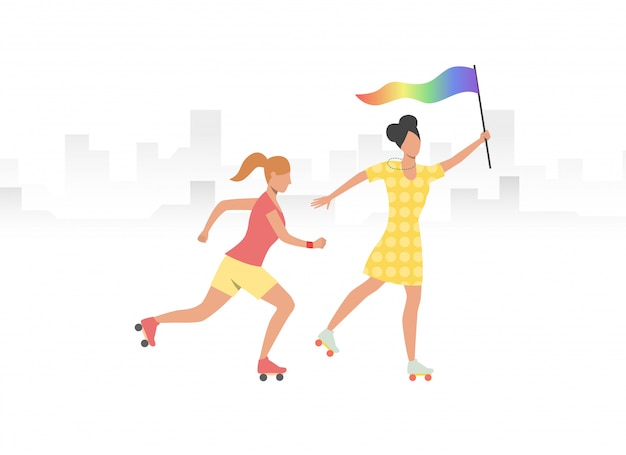 Couple of roller skaters with rainbow flag