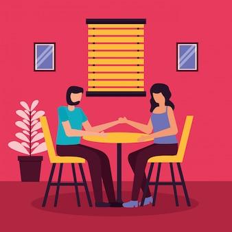 Пара романтических мероприятий плоской иллюстрации