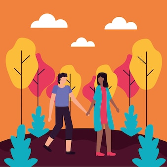 Couple romantic activities flat illustration