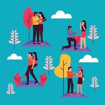 Couple romantic activities outdoors flat